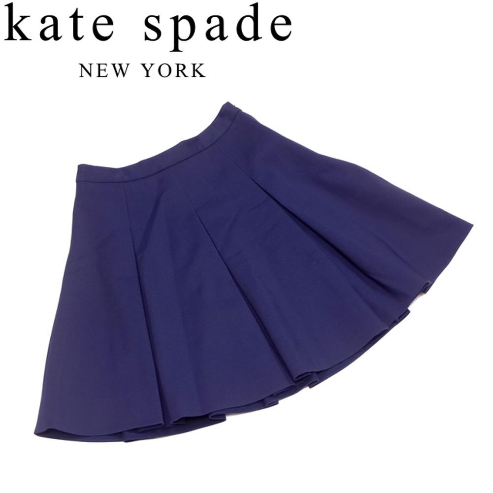 ケイト スペード kate spade スカート フレアー レディース ♯2サイズ タック入り ネイビー コットン56%ナイロン40%ポリウレタン4% 良品 セール 【中古】 T6687 .