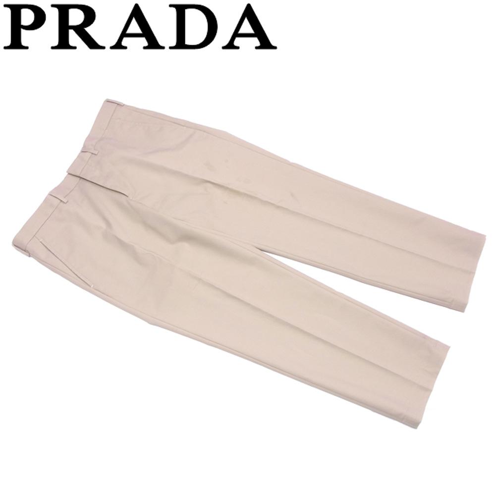 プラダ PRADA パンツ スラックス メンズ ♯50サイズ センタープレス ベージュ コットン綿62%ポリエステル38%(裏生地)レーヨン100% 人気 セール 【中古】 T6961 .