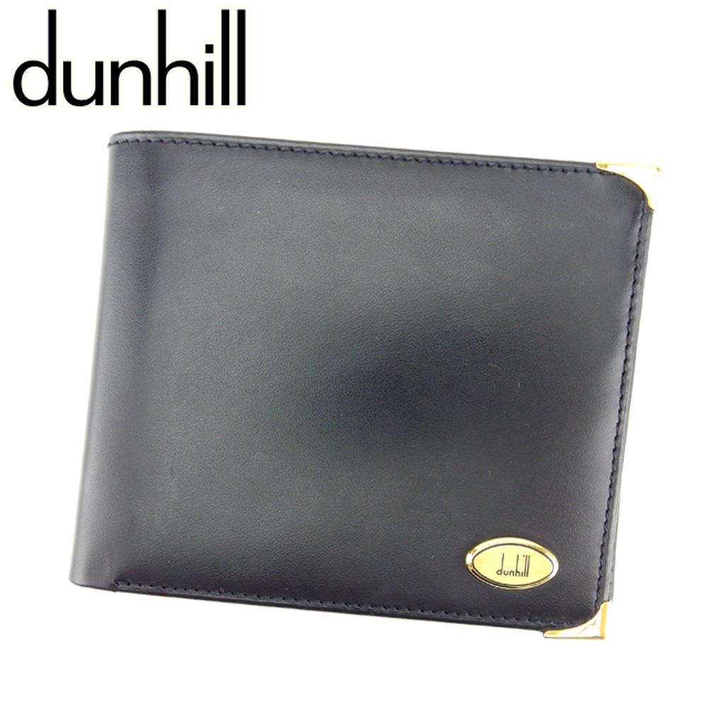 ダンヒル dunhill 二つ折り 財布 メンズ オックスフォード ブラック ゴールド レザー 美品 セール 【中古】 T7422 .