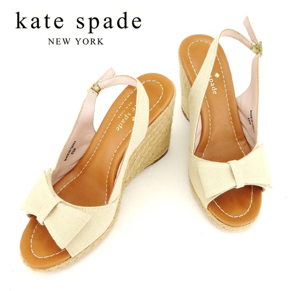 664e39d7c8a4db Kate spade kate spade sandals shoes shoes Lady s ♯ 6 half M wedge sole  ribbon beige gold system canvas X jute X leather popularity quality goods  T7796