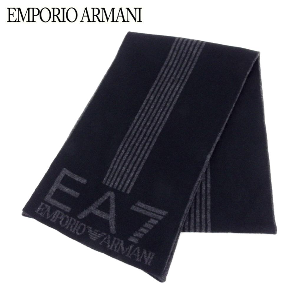 エンポリオ アルマーニ EMPORIO ARMANI マフラー メンズ ストライプライン EAマーク ブラック グレー 灰色 アクリルAcrilica/100% 超美品 セール 【中古】 B966 .