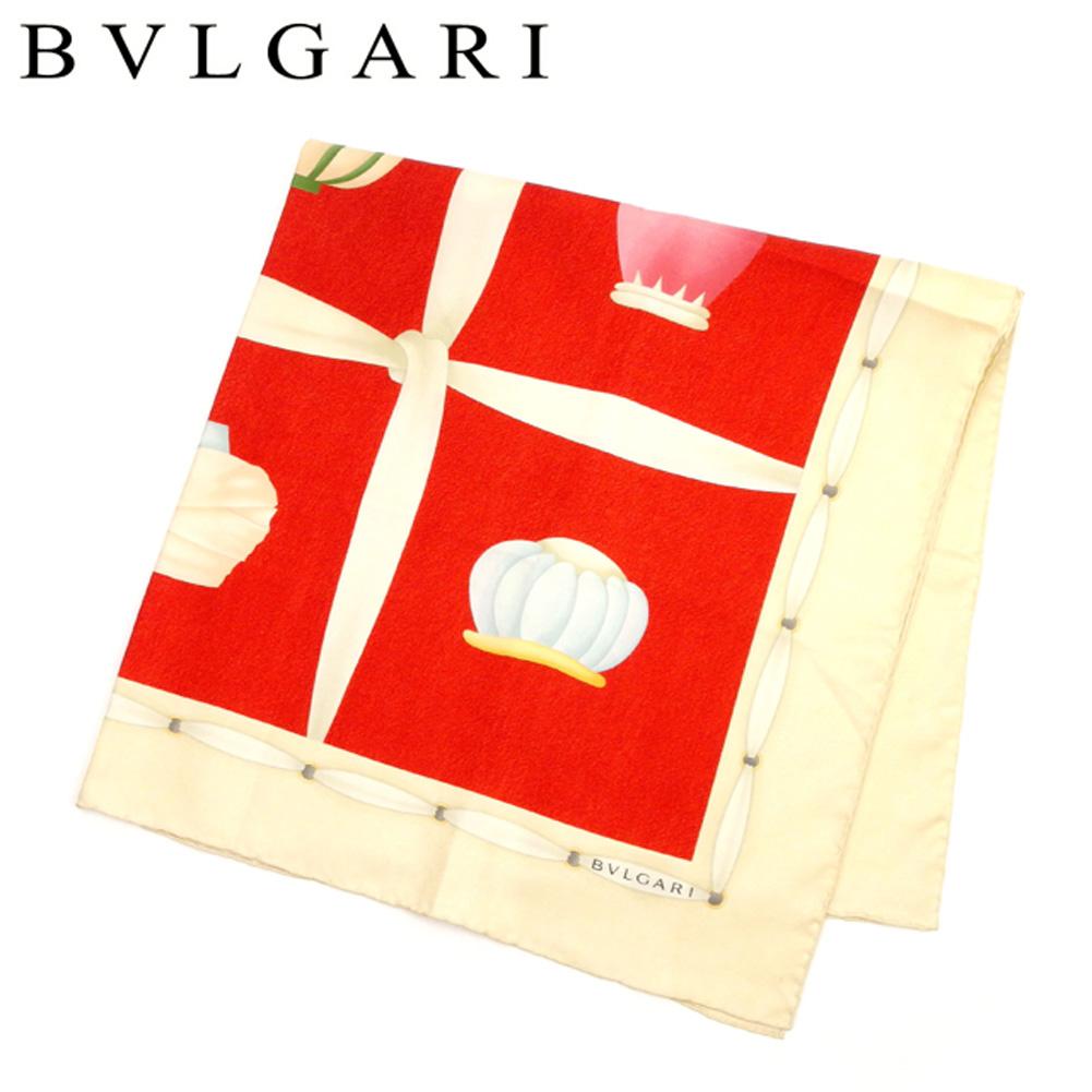 ブルガリ BVLGARI スカーフ 大判サイズ レディース メンズ 可 トプカピ ターバンプリント レッド ベージュ系 シルク100% 人気 良品 【中古】 C3145 .