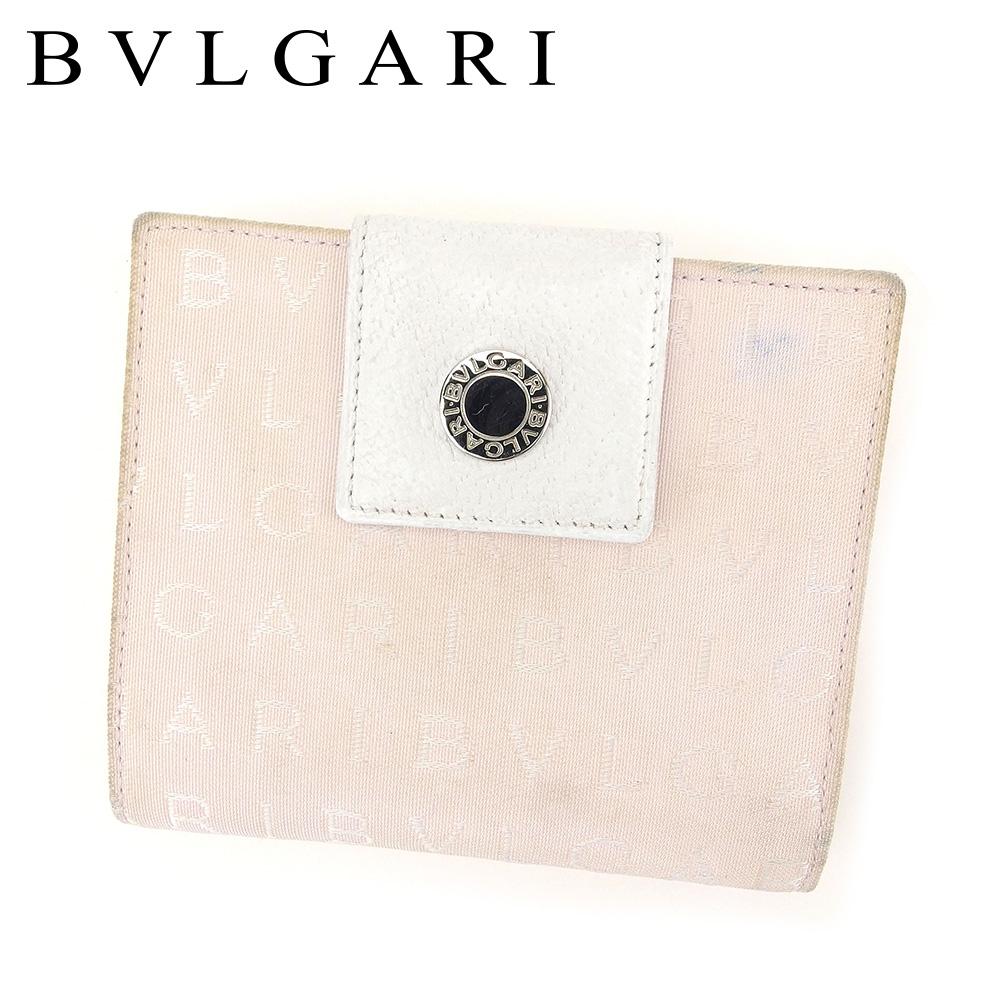 1fb410afaecb ブルガリ Wホック 財布 二つ折り 財布 メンズ可 ロゴマニア ホワイト 白 ピンク キャンバス×レザー 人気 セール 【中古】 C3171 .  BVLGARI-その他