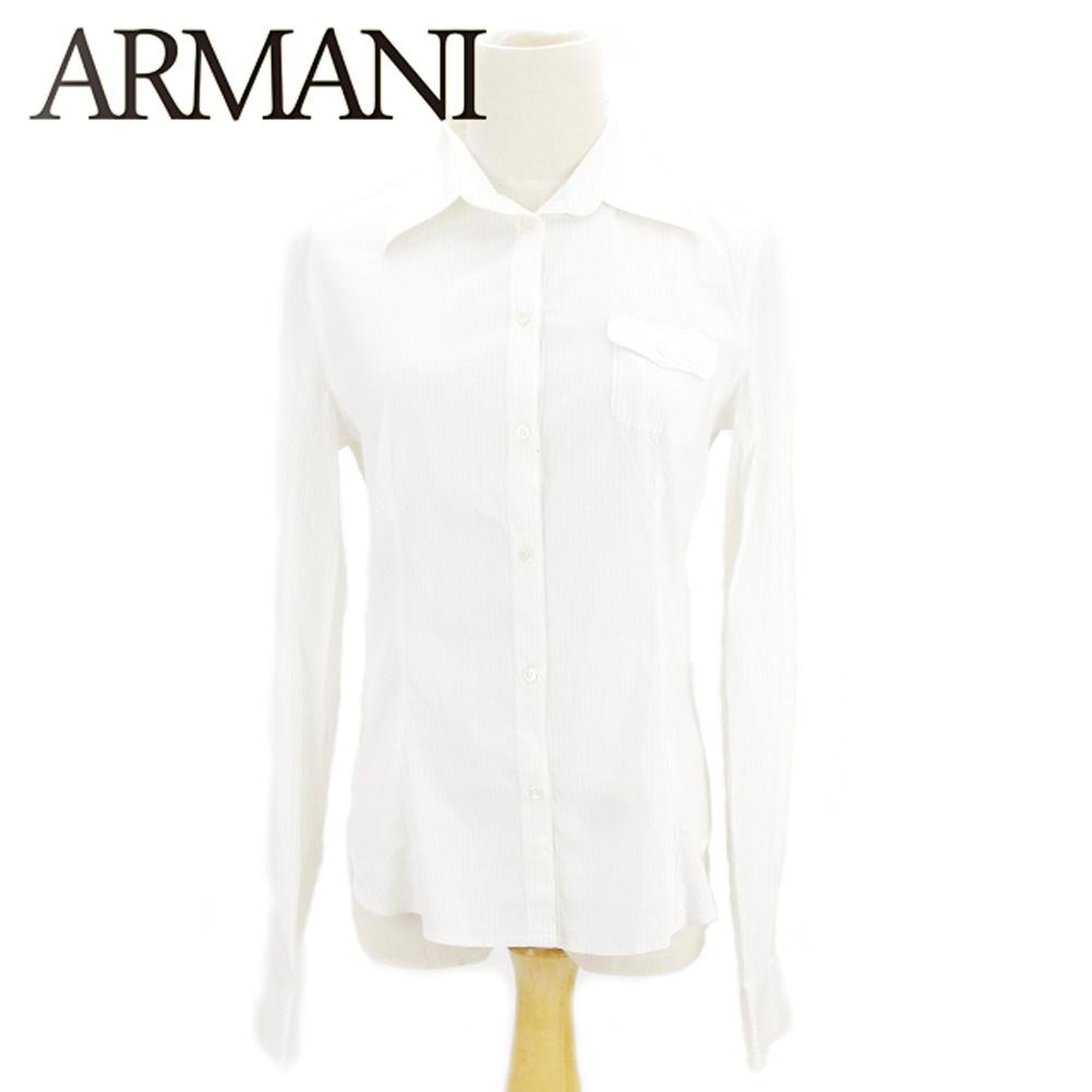 81e281548b アルマーニコレツィオーニ ARMANI COLLEZIONI shirt long sleeves Lady's ♯ 42 size stripe  white white beige vis ...