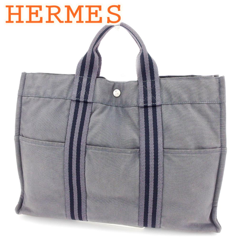 エルメス HERMES トートバッグ ハンドバッグ レディース メンズ トートMM フールトゥ グレー 灰色 ブラック コットンキャンバス 人気 セール 【中古】 D1806 .