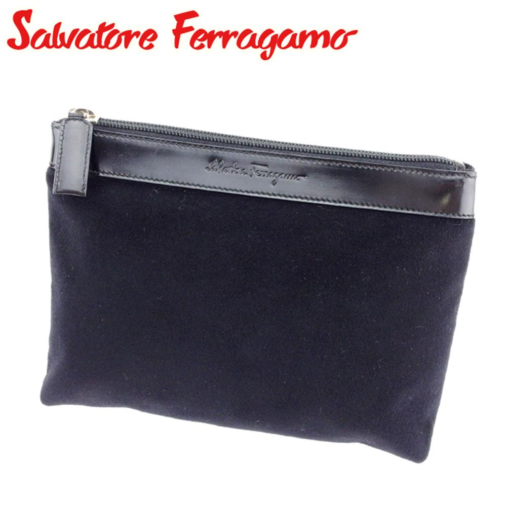 Salvatore Ferragamo Salvatore Ferragamo porch makeup porch Lady s men logo  black silver canvas X leather popularity quality goods D1828 97ef02311901c