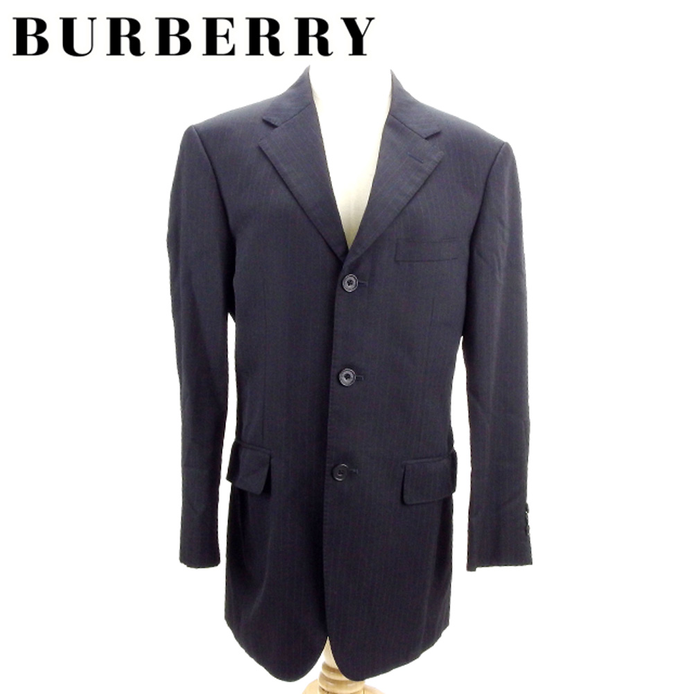 バーバリー ブラックレーベル BURBERRY BLACK LABEL ジャケット 3つボタン メンズ テーラード ストライプ ブラック ブルー 羊毛95%ポリエステル5%(胴裏)ポリエステル・キュプラ(袖裏)キュプラ 訳あり セール 【中古】 I503 .