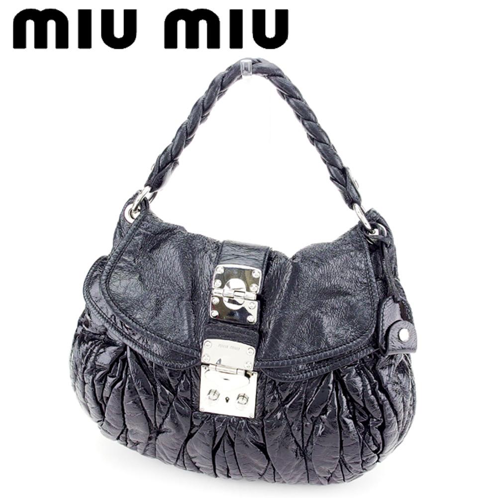 【中古】 ミュウミュウ miu miu ハンドバッグ バッグ レディース マテラッセ ブラック シルバー エナメルレザーハンドバッグ T7493s .