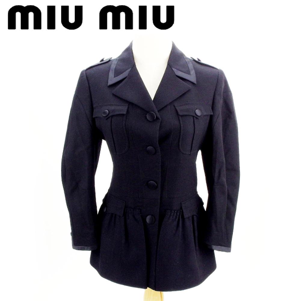 ミュウミュウ miu miu ジャケット フラップポケット付き レディース ♯42サイズ シングルボタン ブラック ウール羊毛100%(裏地)シルク絹100% 美品 セール 【中古】 T7546 .