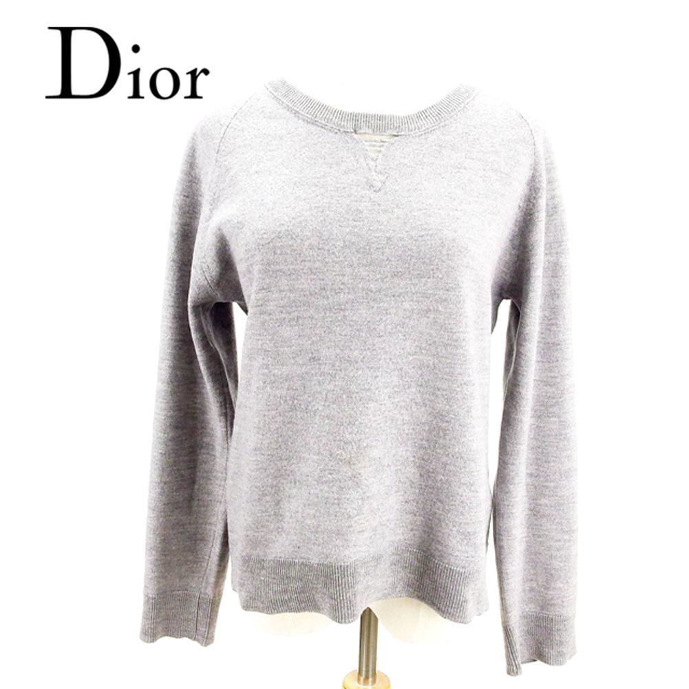 ディオール オム Dior Homme ニット 長袖 セーター メンズ ♯Lサイズ クルーネック グレー 灰色 ウールLaineWool/100% 訳あり セール 【中古】 T7707 .