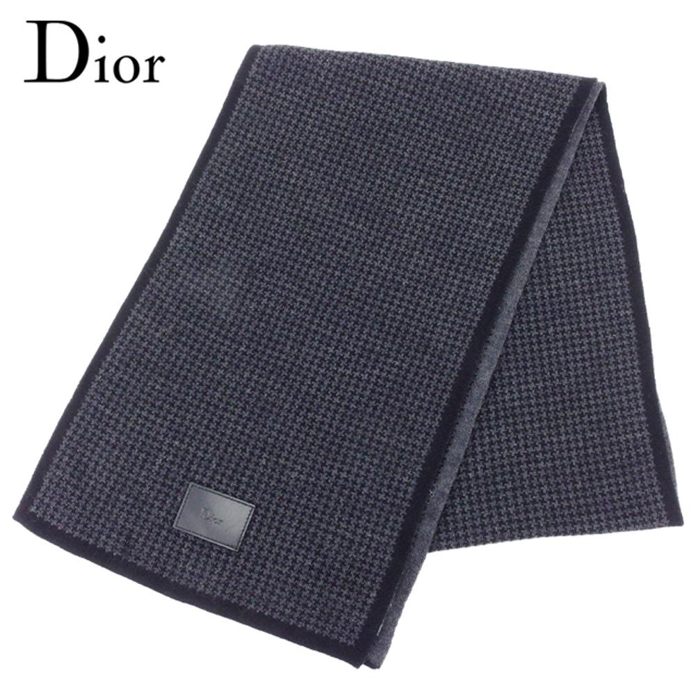 【中古】 ディオール オム マフラー 千鳥柄 ブラック グレー 灰色 ウール100%Dior Homme レディース プレゼント 贈り物 1点物 人気 良品 春 ブランド 迅速発送 オシャレ 大人 在庫処分 ファッション 【送料無料】 T8147