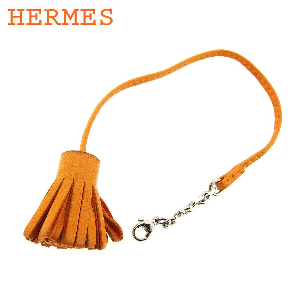 【中古】 エルメス HERMES ブックマーク しおり レディース メンズ 可 オレンジ レザーブックマーク C3216s .
