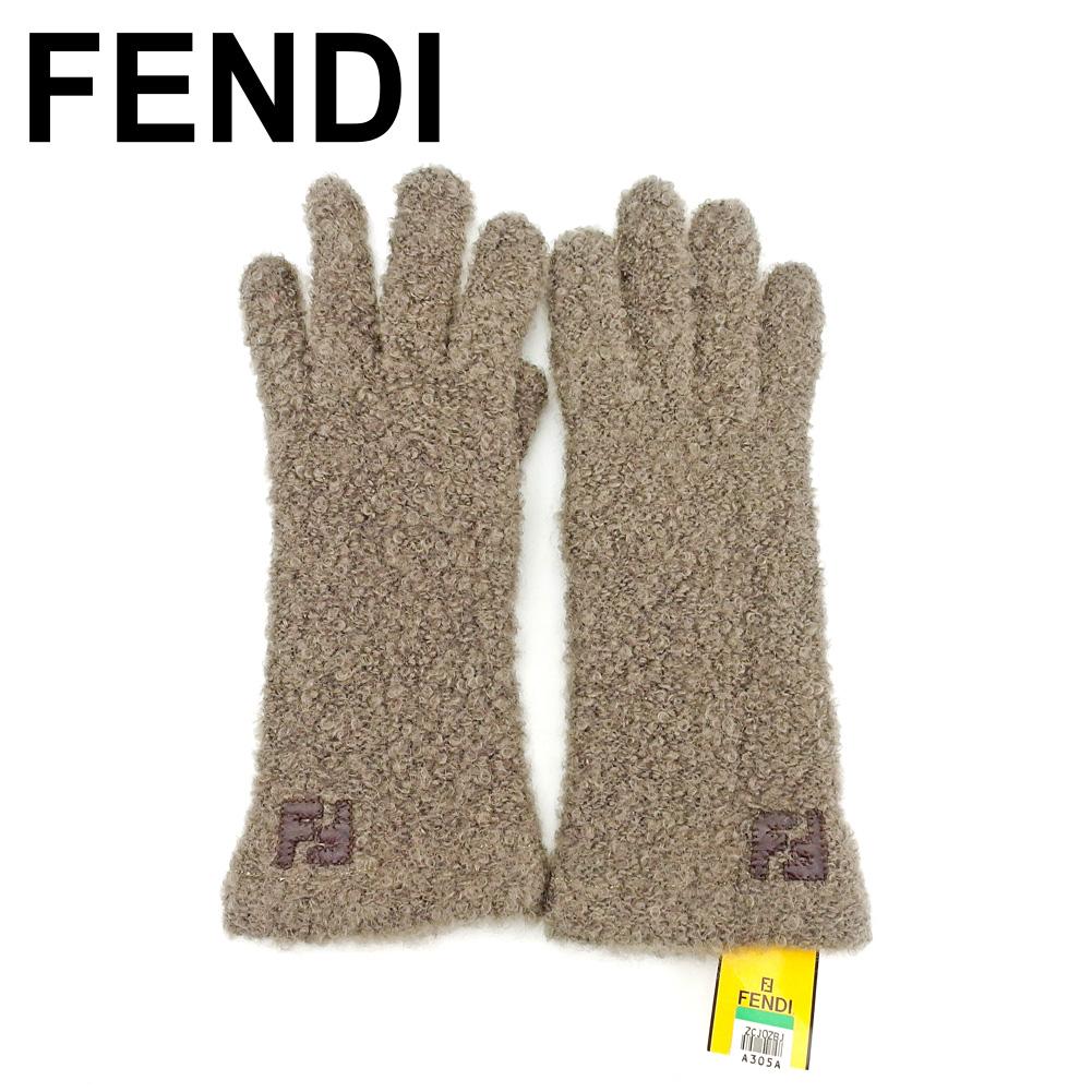 【中古】 フェンディ FENDI 手袋 グローブ レディース FFマーク ブラウン ベージュ 未使用品 セール T7569 .
