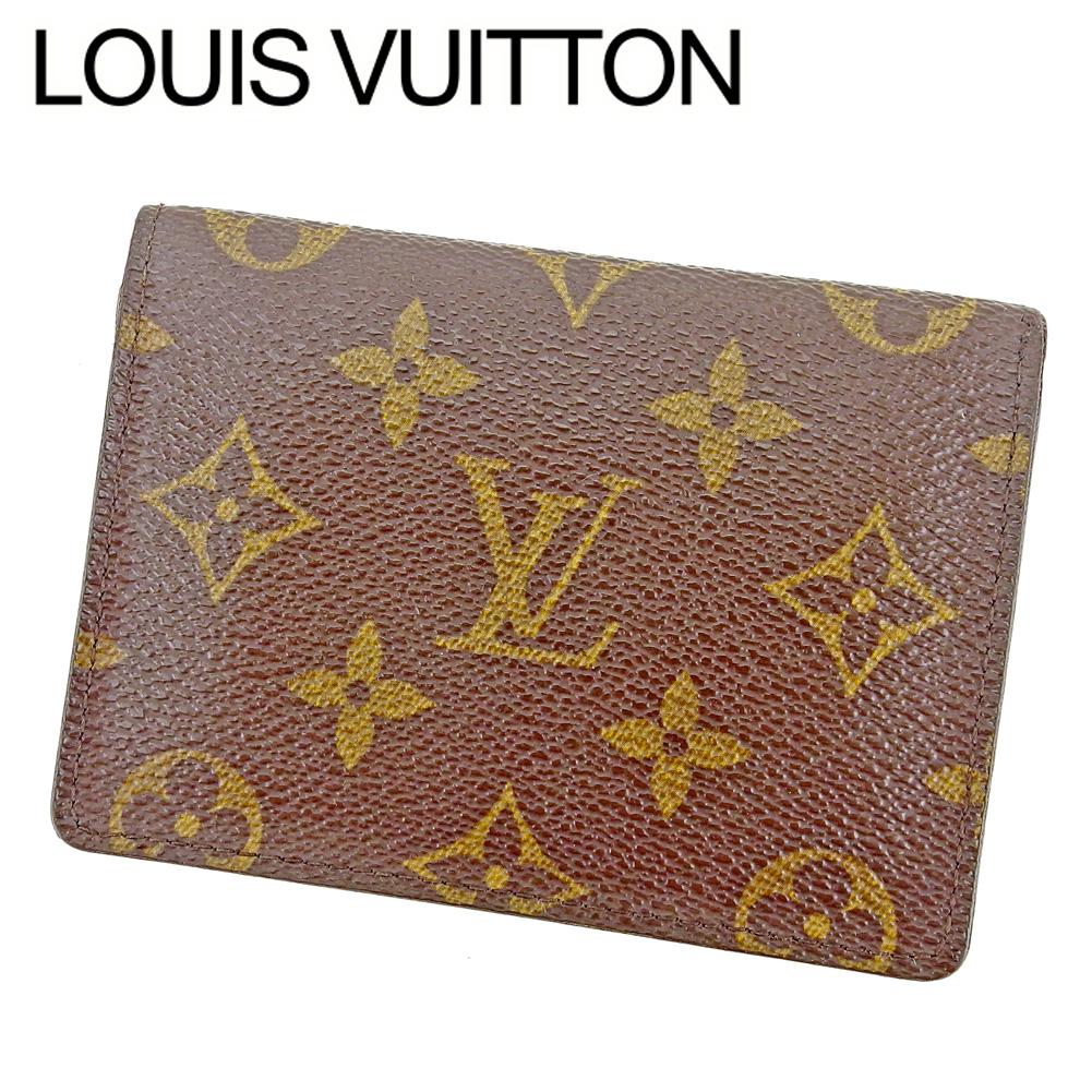【中古】 ルイ ヴィトン LOUIS VUITTON 定期入れ パスケース レディース メンズ 可 ポルト2カルトヴェルティカル  モノグラム ブラウン PVC×レザ- 人気 セール T7574 .
