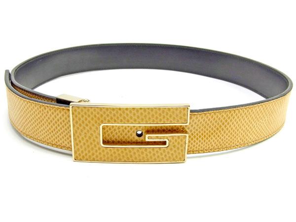 8265d2fb00c Gucci GUCCI belt ♯ 70 28 size men s possible lizard-like G mark buckle  beige X gold type push leather beauty product sale Y7277