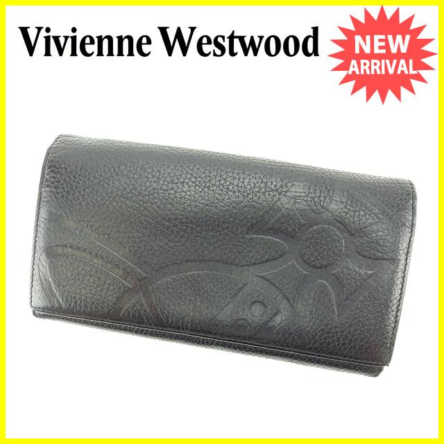 【中古】 【送料無料】 ヴィヴィアン ウエストウッド Vivienne Westwood 長財布 L字ファスナー オーブ ブラック レザー 超 人気 Y6317