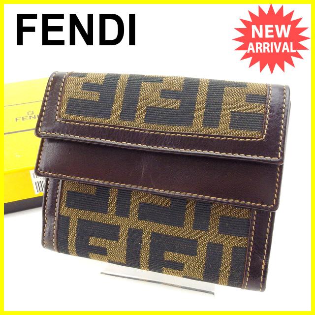 【中古】 【送料無料】 フェンディ FENDI 三つ折り財布 コンパクトサイズ レディース Wフラップ ズッカ カーキ×ブラック×ブラウン 良品 Y3517