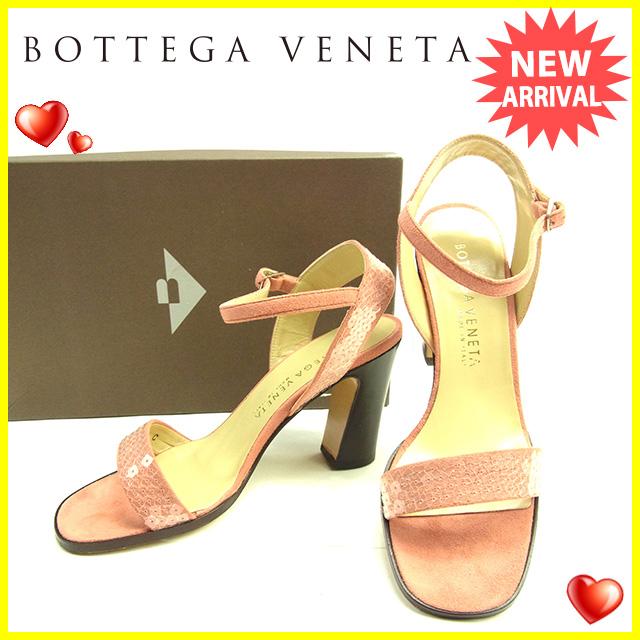 【中古】 【送料無料】 ボッテガヴェネタ BOTTEGA VENETA サンダル シューズ 靴 レディース ♯34C アンクルストラップ スパンコール クリア×ピンク×ブラウン スエード (あす楽対応) 美品 D1422