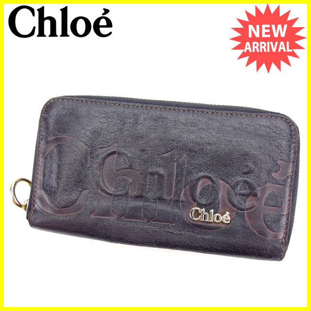 【中古】 【送料無料】 クロエ Chloe 長財布 ラウンドファスナー メンズ可 エクリプス ブラック×ブラウン×ゴールド レザー 人気 L1261
