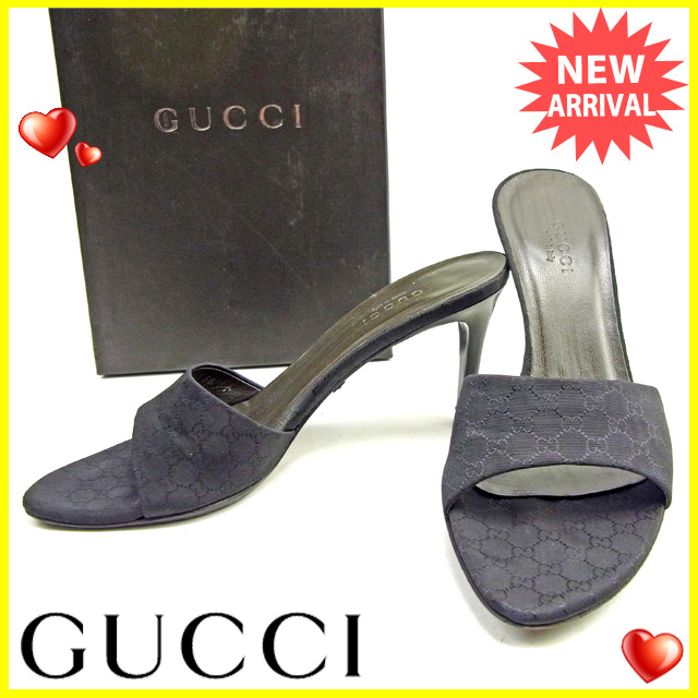 【中古】 【送料無料】 グッチ Gucci ミュール #36C レディース GG柄 ブラック キャンバス×レザー 良品 Y6264