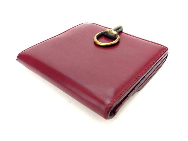 3a00a6c602f4 【中古】 【送料無料】 グッチ GUCCI Wホック財布 二つ折り財布 男女兼用 Gクリップ 101603 ボルドー×ゴールド レザー (あす楽対応)  A1019-レディース財布