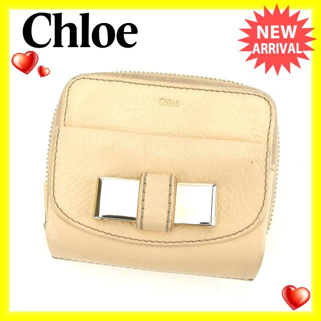 【中古】 【送料無料】 クロエ Chloe 二つ折り財布 ラウンドファスナー レディース メタルリボン付き リリィ ピンクベージュ×ゴールド レザー (あす楽対応) 即納 G719s