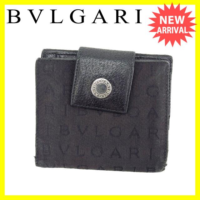 【中古】 【送料無料】 ブルガリ BVLGARI Wホック財布 二つ折り コンパクトサイズ メンズ可 ロゴボタン付き ロゴマニア ブラック×シルバー キャンバス×レザー (あす楽対応) 人気 H344s