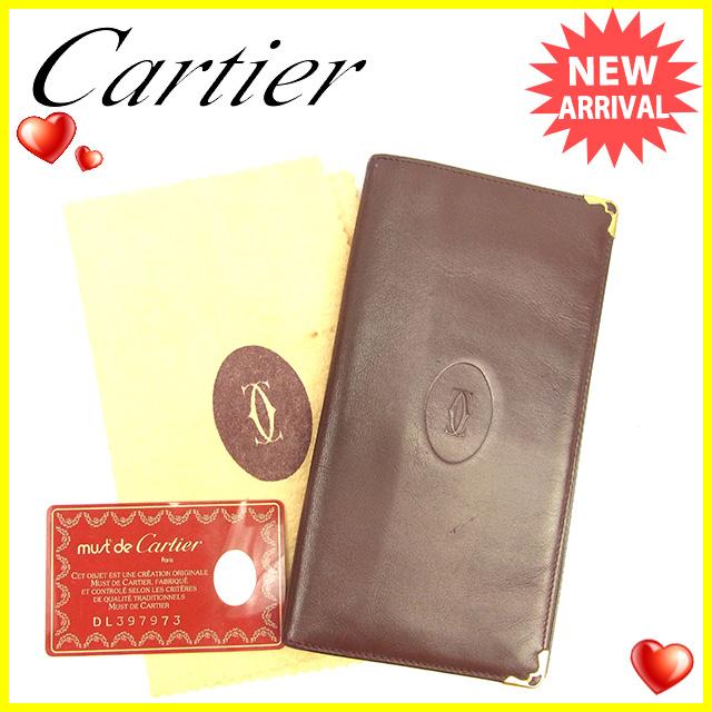 【中古】 【送料無料】 カルティエ Cartier 長札入れ メンズ可 マストライン ボルドー×ゴールド レザー 人気 Y5747
