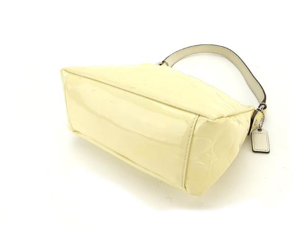 Coach COACH handbag mini-size Lady s signature cream X silver enamel leather  (correspondence) S252 b7cfea37b6b5f