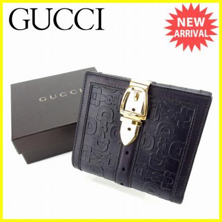 【中古】 【送料無料】 グッチ GUCCI Wホック財布 二つ折り財布 ベルトクリップ付き ホースビット柄 ブラック×ゴールド レザー 美品 C2488