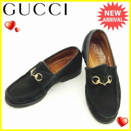 【中古】 【送料無料】 グッチ Gucci ローファー #36C レディース ビット金具 ブラック スエード 人気 Y5115