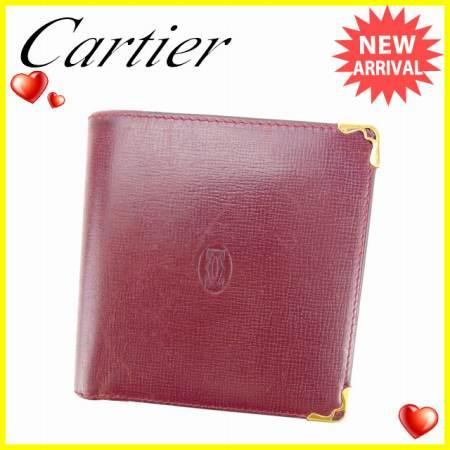 【中古】 【送料無料】 カルティエ Cartier 二つ折り財布 男女兼用 マストライン ボルドー×ゴールド レザー (あす楽対応) 人気 A1060