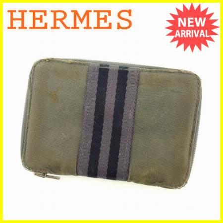 【中古】 【送料無料】 エルメス HERMES 二つ折り財布 ラウンドファスナー 男女兼用 パースPM フールトゥ グレー×ブラック コットンキャンバス (あす楽対応) 人気 G992