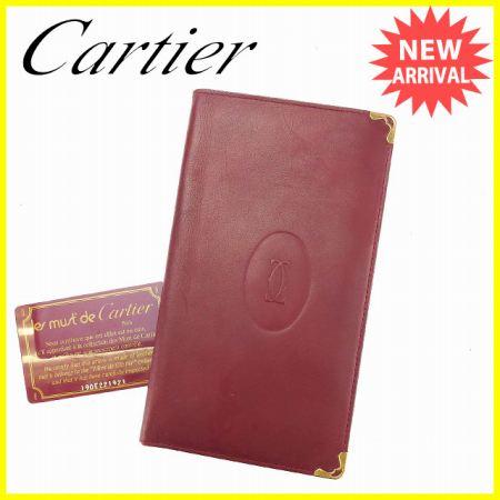 【中古】 【送料無料】 カルティエ Cartier 長札入れ マストライン ボルドー×ゴールド レザー 人気 G1037s