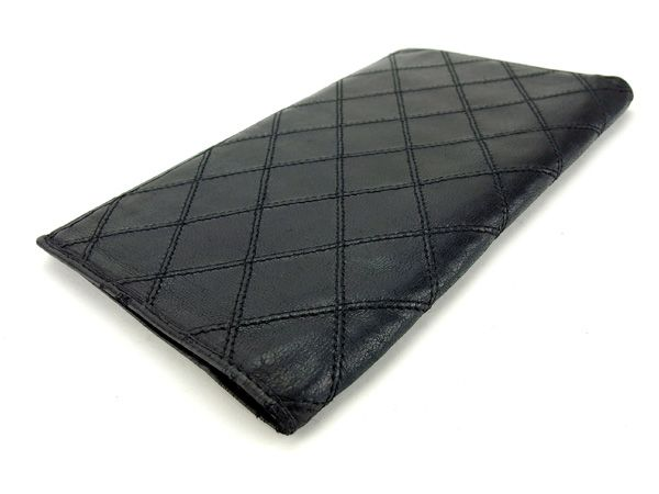ca07fce46847ea ... Chanel CHANEL long wallet men and women combined double-stitched black  leather with popular A1165 ...