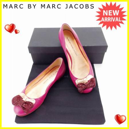 【中古】 【送料無料】 マークバイマークジェイコブス MARC BY MARC JACOBS パンプス シューズ 靴 レディース ♯35ハーフ スパンコール付き ダブルリボン ピンク×ボルドー系 レザー (あす楽対応)良品 Y5012