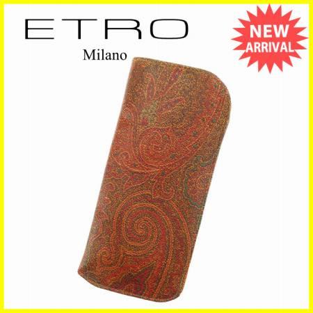 에트로 ETRO 메가네케이스레디스페이즈리브라운계 PVC×레더 우량품 세일 L1046