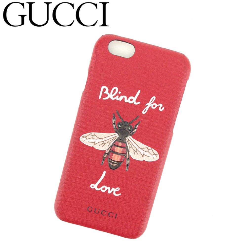 【中古】 グッチ GUCCI iPhone 6 ケース アイフォン6ケース レディース 蜂 ビー レッド ホワイト 白 ブラック系 PVC 超美品 セール C3407 .