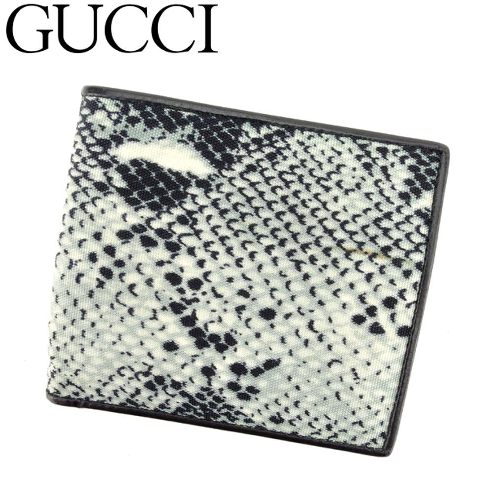 【中古】 グッチ GUCCI 二つ折り 財布 メンズ パイソンプリント グレー 灰色 ブラック キャンバス×レザー 人気 良品 C3408 .