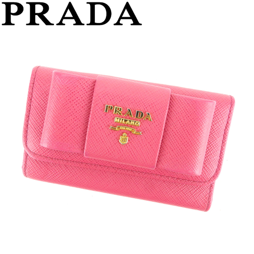 【中古】 プラダ PRADA キーケース 6連キーケース レディース リボンモチーフ ピンク ゴールド サフィアーノレザー 美品 セール C3415