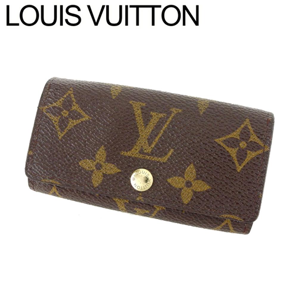 【中古】 ルイ ヴィトン Louis Vuitton キーケース 4連キーケース レディース メンズ ミュルティクレ4 モノグラム ブラウン ベージュ ゴールド モノグラムキャンバス 訳あり セール C3447 .