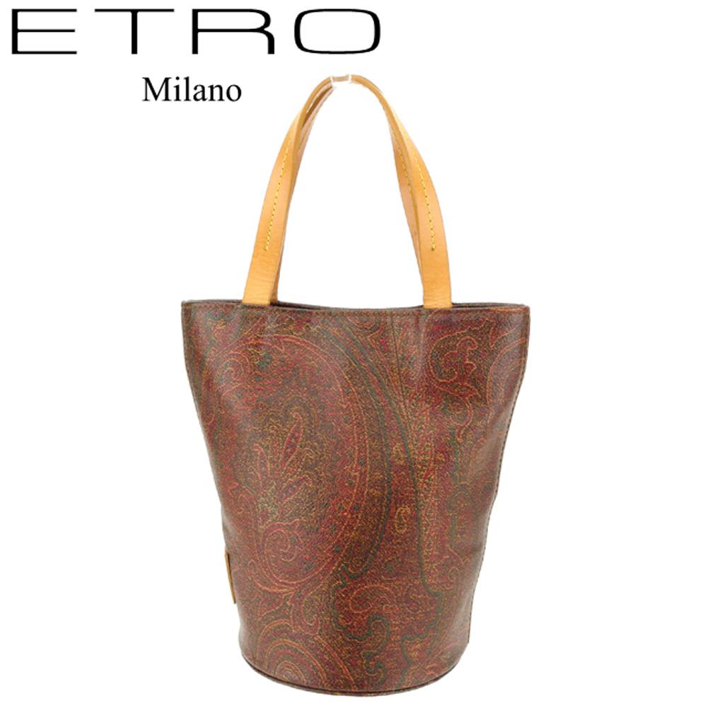 【中古】 エトロ ETRO ハンドバッグ ミニバッグ バッグ レディース ペイズリー ブラウン系 ベージュ PVC×レザー 人気 良品 C3452 .