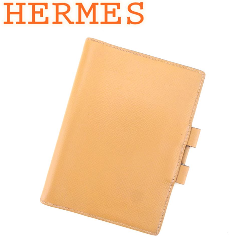【中古】 エルメス HERMES 手帳カバー レディース メンズ アジェンダ ベージュ レザー 人気 セール G1286 .