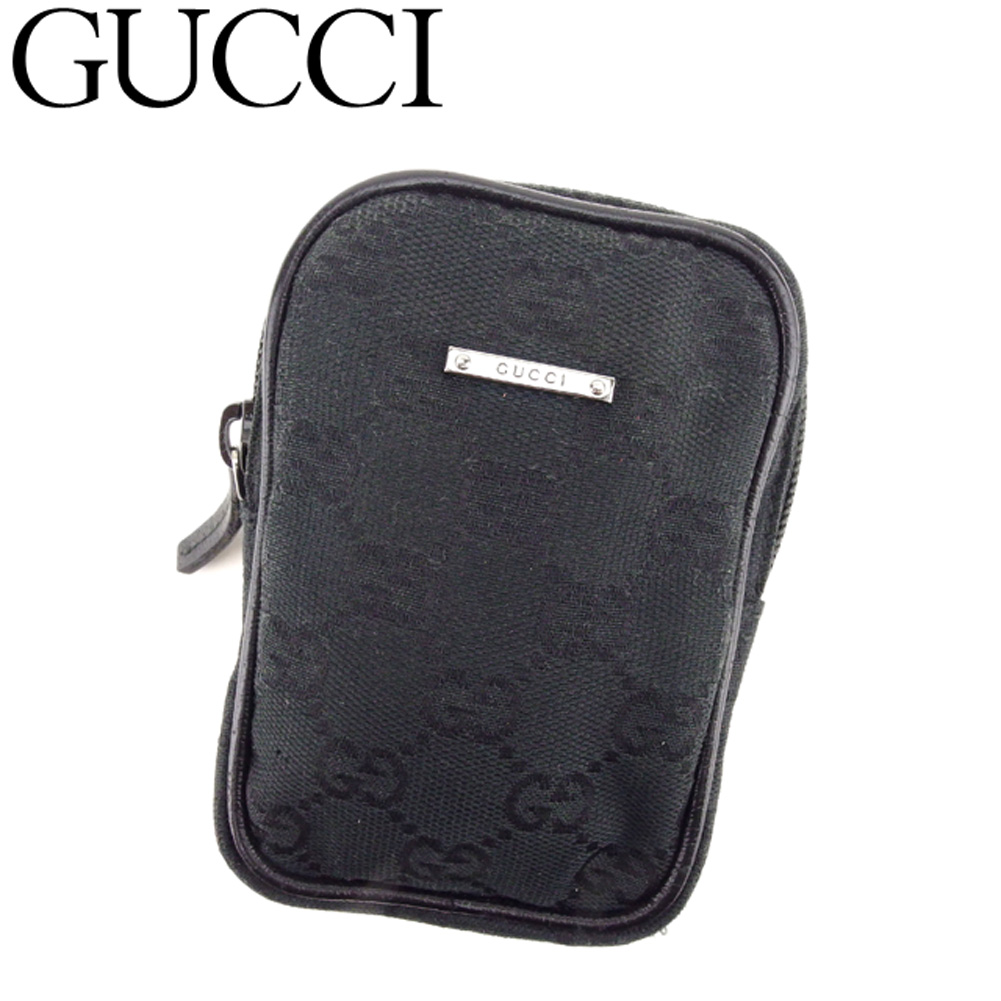 【中古】 グッチ Gucci シガレットケース 小物入れ ポーチ レディース メンズ GGキャンバス ブラック キャンバス×レザー 人気 セール G1293 .