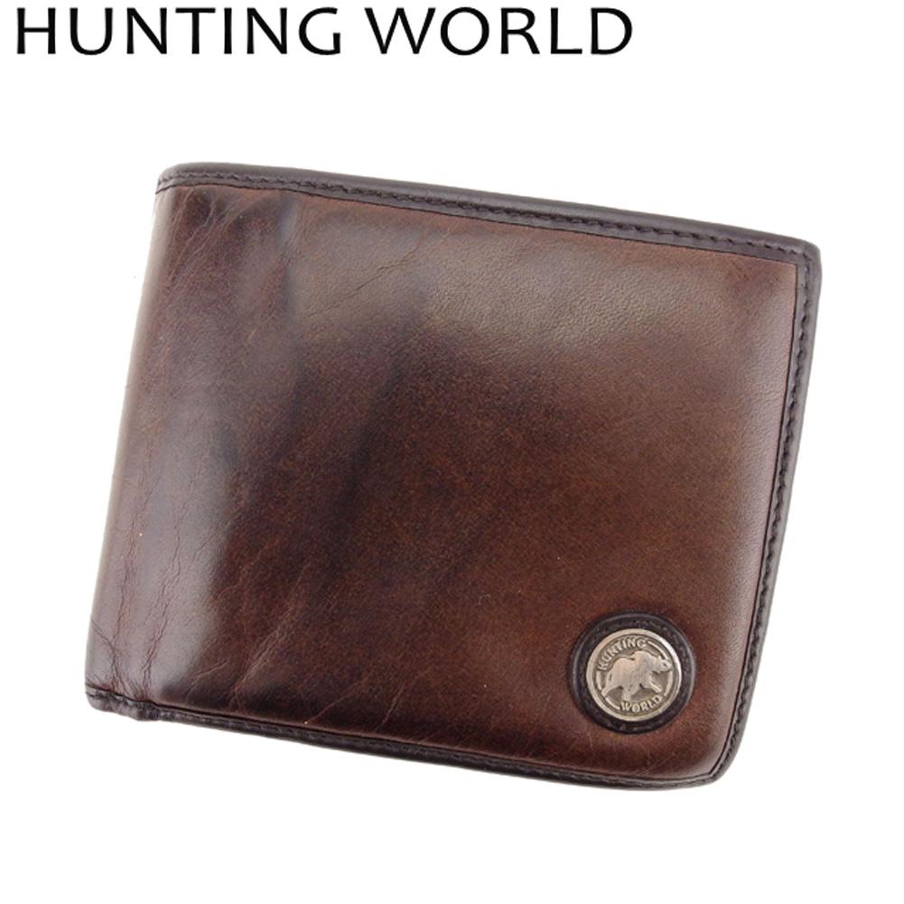 【中古】 ハンティングワールド HUNTING WORLD 二つ折り 財布 レディース メンズ  ブラウン バチュークロス×レザー 人気 セール G1302 .