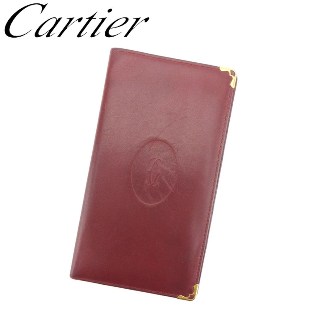 【中古】 カルティエ Cartier 長札入れ 長財布 レディース メンズ ボルドー レザー G1314
