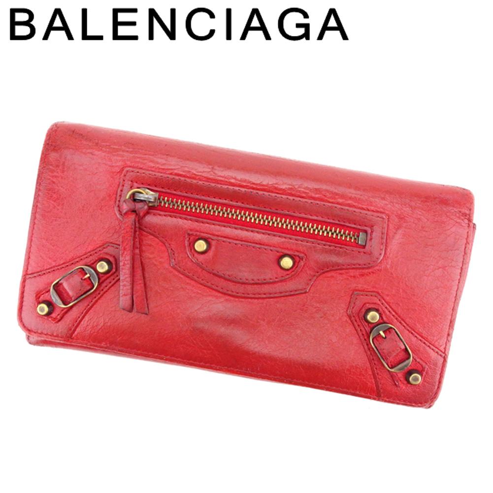 【中古】 バレンシアガ BALENCIAGA 長財布 ファスナー付き 長財布 レディース  レッド レザー 人気 セール G1316