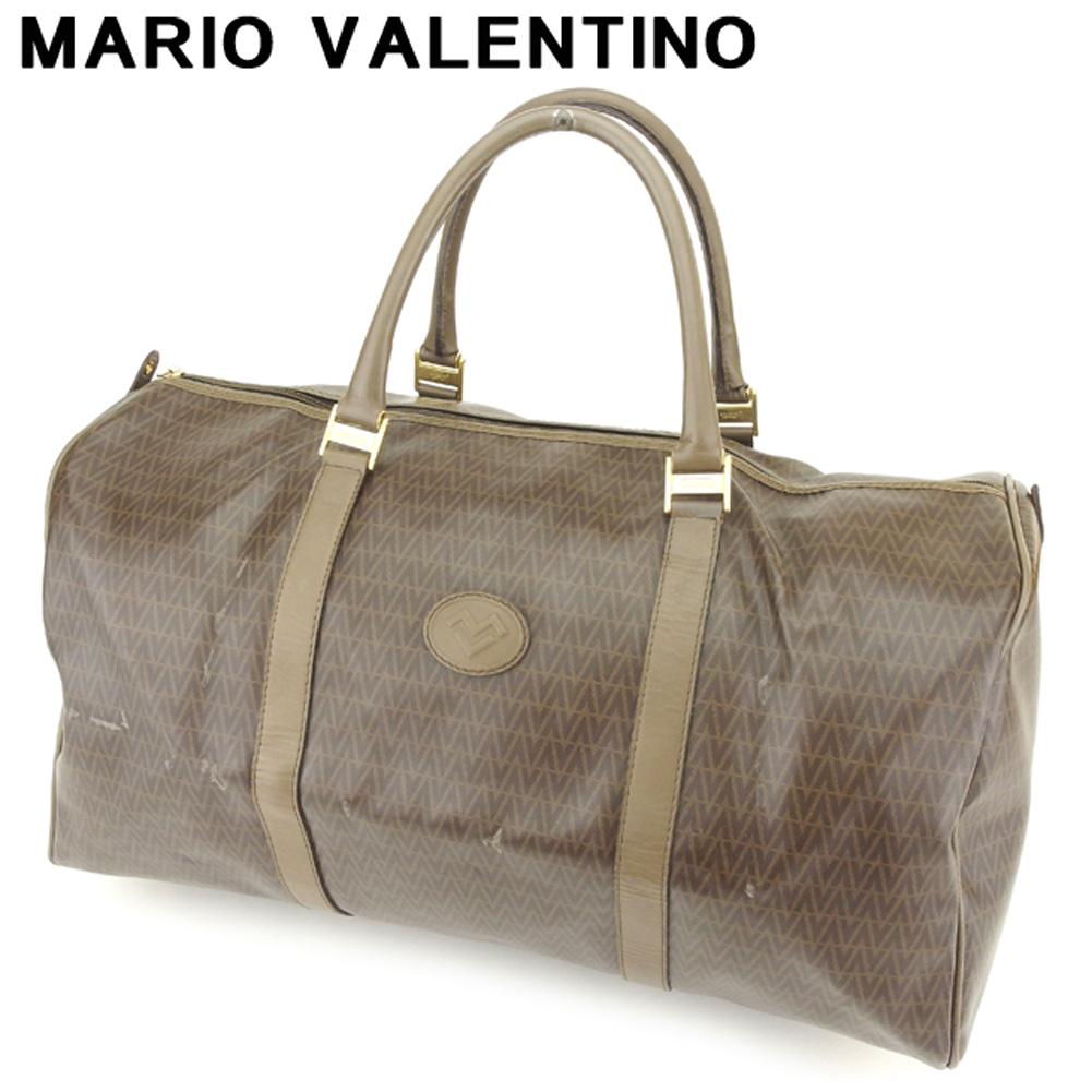 【中古】 マリオ ヴァレンティノ MARIO VALENTINO ボストンバッグ トラベルバッグ 旅行用バッグ レディース メンズ MVマーク ブラウン ゴールド PVC×レザー 人気 セール H621 .