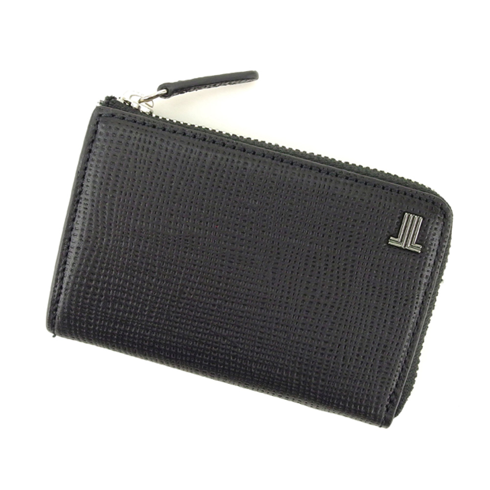 【中古】 ランバン LANVIN コインケース キーケース メンズ JLマーク ブラック シルバー レザー 超美品 セール H625