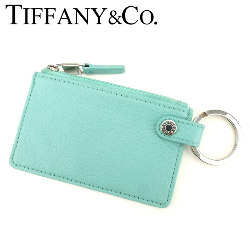 【中古】 ティファニー Tiffany&Co. コインケース 小銭入れ キーリング付き レディース  ブルー レザー 人気 良品 P770